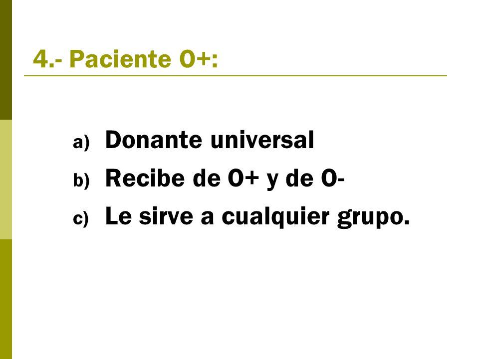 4.- Paciente O+: a) Donante universal b) Recibe de O+ y de O- c) Le sirve a cualquier grupo.