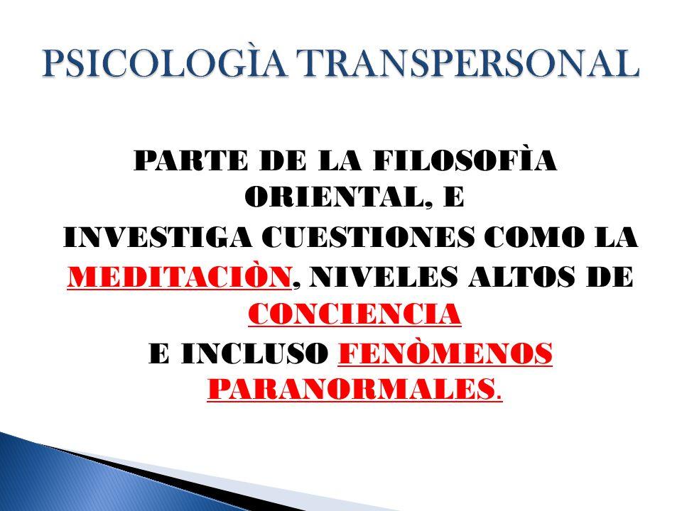 PARTE DE LA FILOSOFÌA ORIENTAL, E INVESTIGA CUESTIONES COMO LA MEDITACIÒN, NIVELES ALTOS DE CONCIENCIA E INCLUSO FENÒMENOS PARANORMALES.