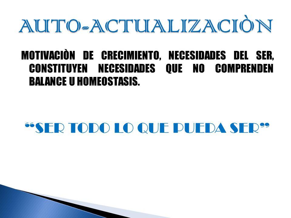 MOTIVACIÒN DE CRECIMIENTO, NECESIDADES DEL SER, CONSTITUYEN NECESIDADES QUE NO COMPRENDEN BALANCE U HOMEOSTASIS.