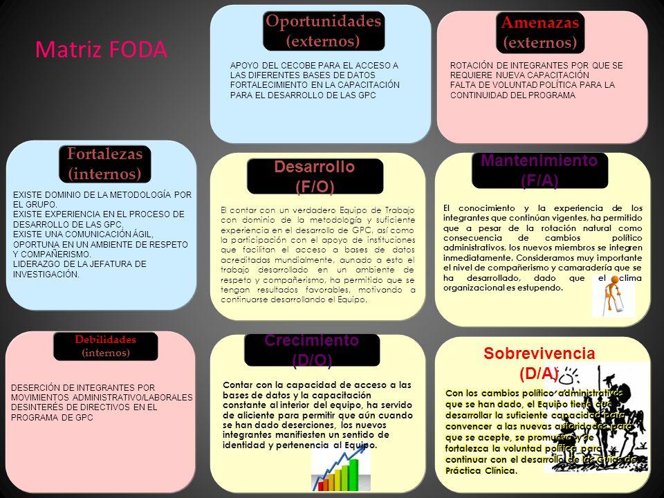 Matriz FODA Oportunidades (externos) Fortalezas (internos) EXISTE DOMINIO DE LA METODOLOGÍA POR EL GRUPO.