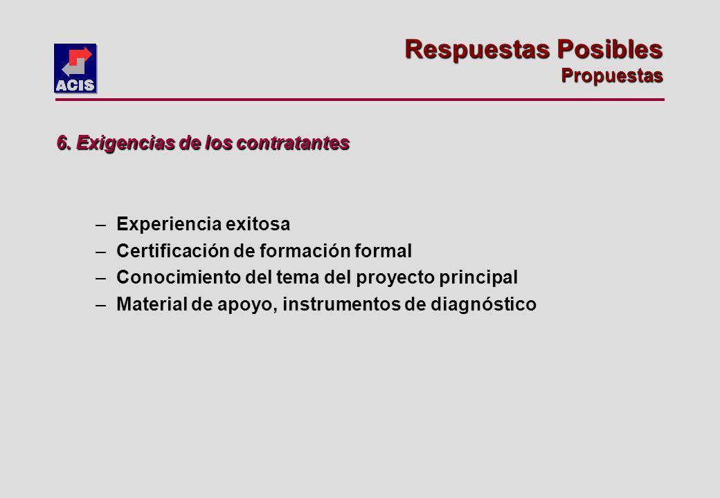 –Experiencia exitosa –Certificación de formación formal –Conocimiento del tema del proyecto principal –Material de apoyo, instrumentos de diagnóstico 6.