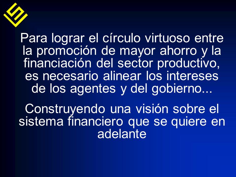 Para lograr el círculo virtuoso entre la promoción de mayor ahorro y la financiación del sector productivo, es necesario alinear los intereses de los agentes y del gobierno...