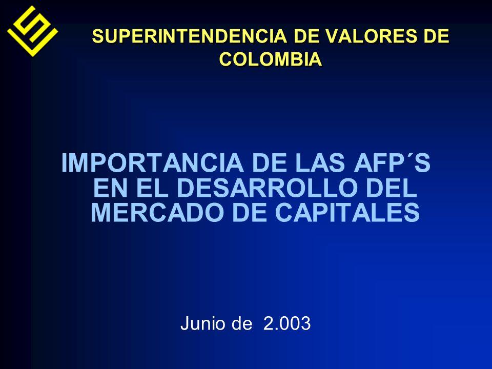 SUPERINTENDENCIA DE VALORES DE COLOMBIA IMPORTANCIA DE LAS AFP´S EN EL DESARROLLO DEL MERCADO DE CAPITALES Junio de 2.003