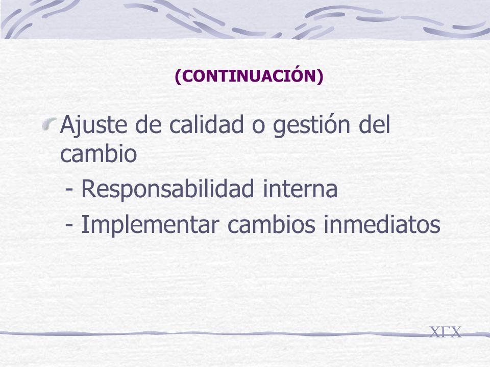 (CONTINUACIÓN) Ajuste de calidad o gestión del cambio - Responsabilidad interna - Implementar cambios inmediatos CGC
