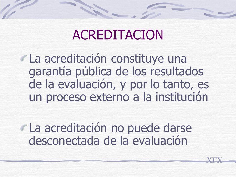 ACREDITACION La acreditación constituye una garantía pública de los resultados de la evaluación, y por lo tanto, es un proceso externo a la institución La acreditación no puede darse desconectada de la evaluación CGC
