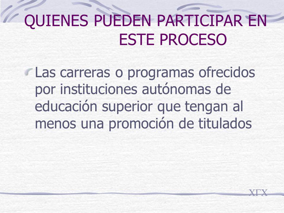 QUIENES PUEDEN PARTICIPAR EN ESTE PROCESO Las carreras o programas ofrecidos por instituciones autónomas de educación superior que tengan al menos una promoción de titulados CGC