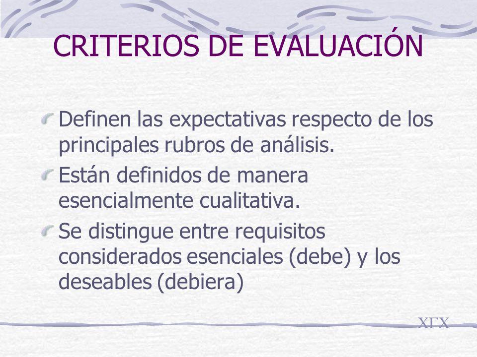 CRITERIOS DE EVALUACIÓN Definen las expectativas respecto de los principales rubros de análisis.