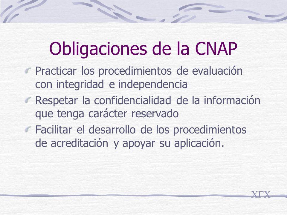 Obligaciones de la CNAP Practicar los procedimientos de evaluación con integridad e independencia Respetar la confidencialidad de la información que tenga carácter reservado Facilitar el desarrollo de los procedimientos de acreditación y apoyar su aplicación.
