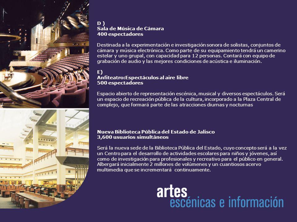 Auditorio 10,000 espectadores Principal espacio del Centro Cultural, tendrá una capacidad similar al Auditorio Nacional de la Ciudad de México, y estará destinado a espectáculos multitudinarios.