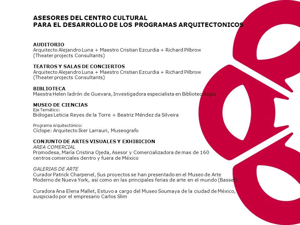 Estructura de Costos Centro Cultural Universitario ConceptoMetros 2Capacidad (personas)Costo Estimado Auditorio25,00010,000$160´000,000.00 Conjunto de Artes Escénicas10,8003,500 (las 4 salas)$120´000.000.00 Museo de Ciencias (1 Etapa)7,8002,000 (Flujo diario)$70´861,505.00 Biblioteca14,0003,600 Usuarios simultaneos $91´000,000.00 Urbanización25.6 Hectáreas _$78´138,495.00 ConceptoSuperficieValor Terreno256,000 mts.2$294´300,000.00 Conjunto de Artes Visuales y Exhibición: Cine, Galería y Centro Galero.