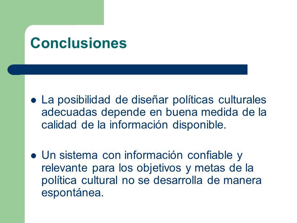 Conclusiones La posibilidad de diseñar políticas culturales adecuadas depende en buena medida de la calidad de la información disponible.