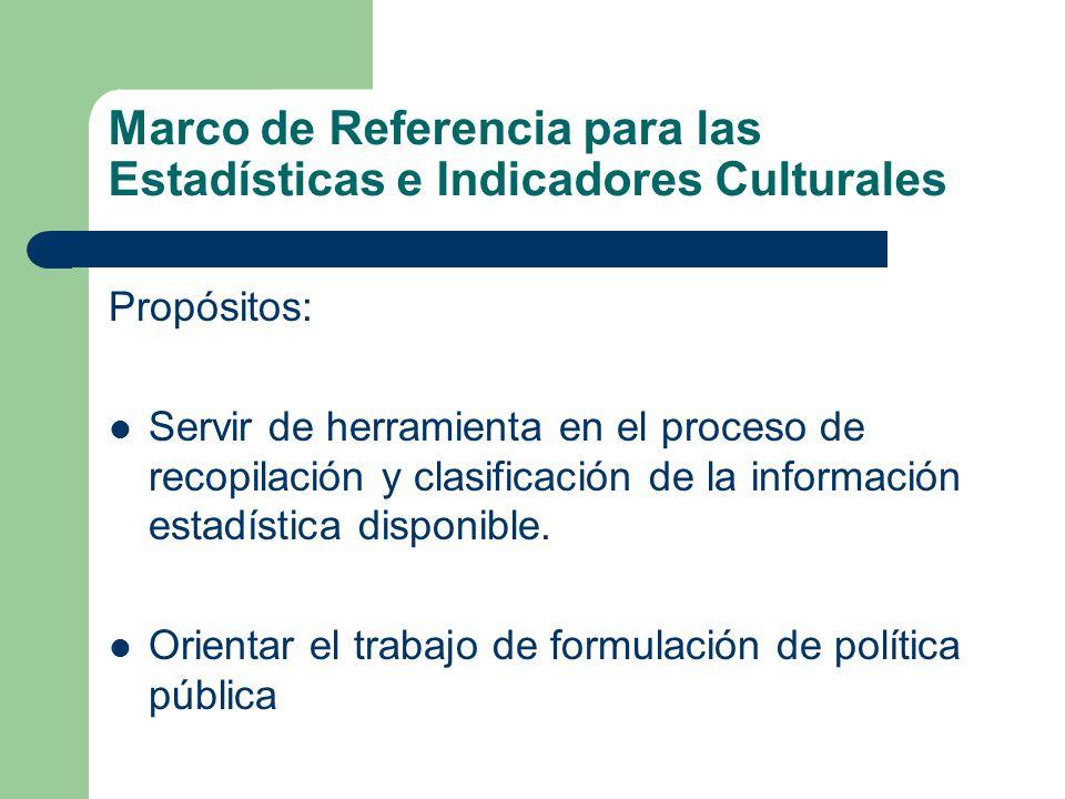 Marco de Referencia para las Estadísticas e Indicadores Culturales Propósitos: Servir de herramienta en el proceso de recopilación y clasificación de la información estadística disponible.