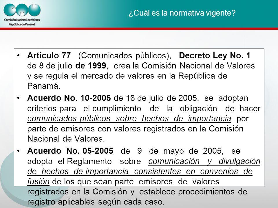 ¿Cuál es la normativa vigente. Artículo 77 (Comunicados públicos), Decreto Ley No.