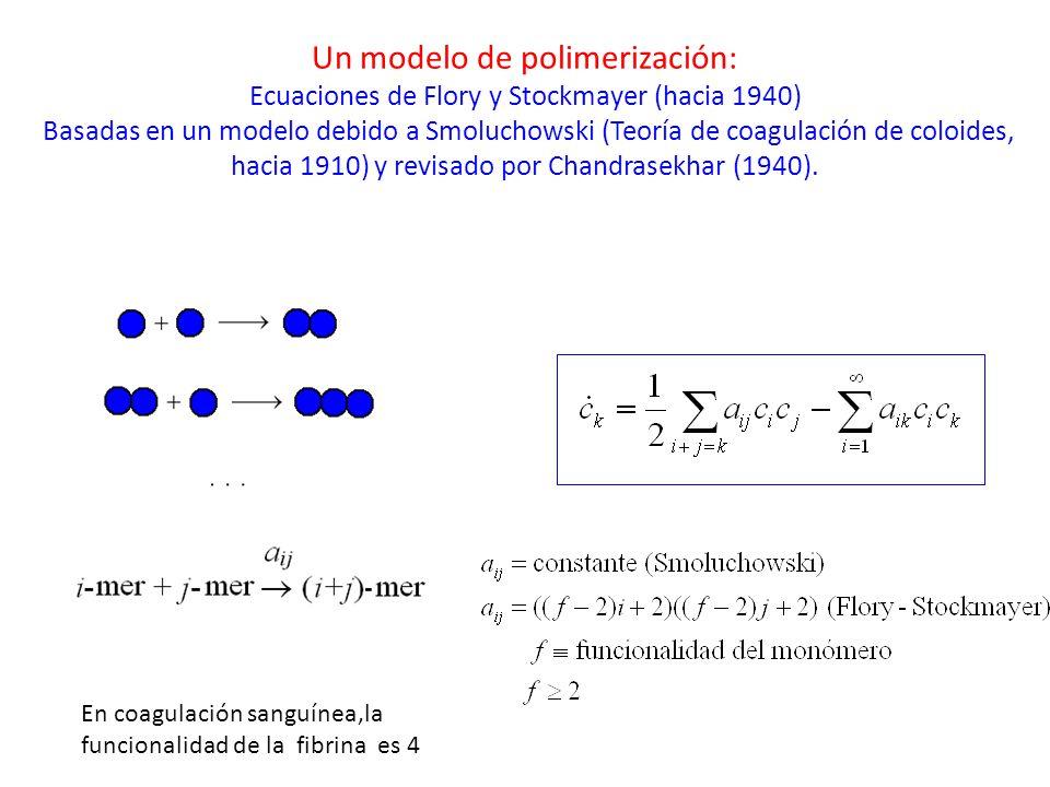 Un modelo de polimerización: Ecuaciones de Flory y Stockmayer (hacia 1940) Basadas en un modelo debido a Smoluchowski (Teoría de coagulación de coloides, hacia 1910) y revisado por Chandrasekhar (1940).
