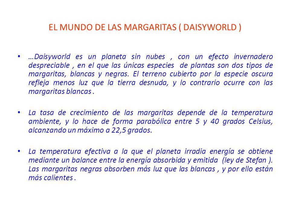 EL MUNDO DE LAS MARGARITAS ( DAISYWORLD ) …Daisyworld es un planeta sin nubes, con un efecto invernadero despreciable, en el que las únicas especies de plantas son dos tipos de margaritas, blancas y negras.