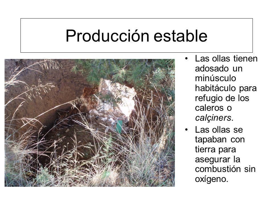 Producción estable Las ollas tienen adosado un minúsculo habitáculo para refugio de los caleros o calçiners.