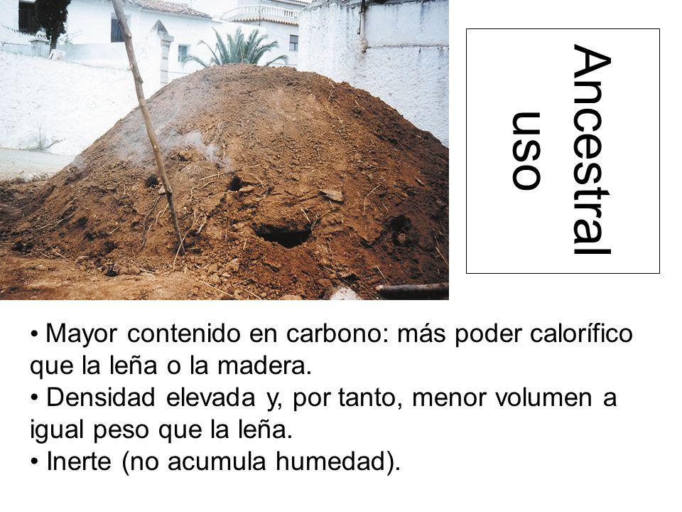 Ancestral uso Mayor contenido en carbono: más poder calorífico que la leña o la madera.