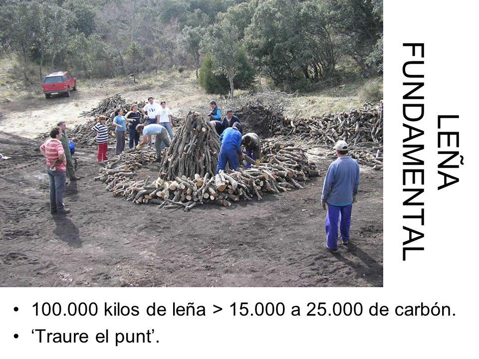 LEÑA FUNDAMENTAL 100.000 kilos de leña > 15.000 a 25.000 de carbón. 'Traure el punt'.