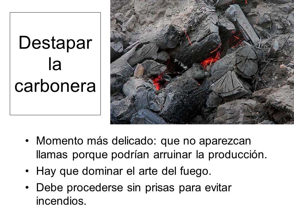Destapar la carbonera Momento más delicado: que no aparezcan llamas porque podrían arruinar la producción.