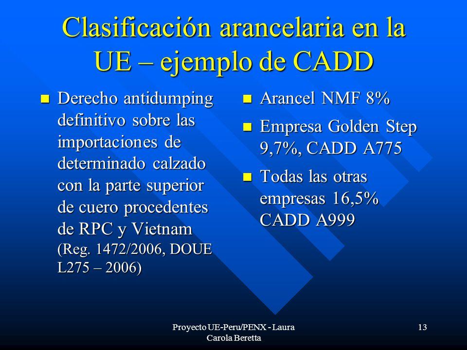 Proyecto UE-Peru/PENX - Laura Carola Beretta 13 Clasificación arancelaria en la UE – ejemplo de CADD Derecho antidumping definitivo sobre las importaciones de determinado calzado con la parte superior de cuero procedentes de RPC y Vietnam (Reg.