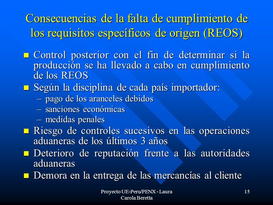 Proyecto UE-Peru/PENX - Laura Carola Beretta 15 Consecuencias de la falta de cumplimiento de los requisitos específicos de origen (REOS) Control posterior con el fin de determinar si la producción se ha llevado a cabo en cumplimiento de los REOS Control posterior con el fin de determinar si la producción se ha llevado a cabo en cumplimiento de los REOS Según la disciplina de cada país importador: Según la disciplina de cada país importador: –pago de los aranceles debidos –sanciones económicas –medidas penales Riesgo de controles sucesivos en las operaciones aduaneras de los últimos 3 años Riesgo de controles sucesivos en las operaciones aduaneras de los últimos 3 años Deterioro de reputación frente a las autoridades aduaneras Deterioro de reputación frente a las autoridades aduaneras Demora en la entrega de las mercancías al cliente Demora en la entrega de las mercancías al cliente