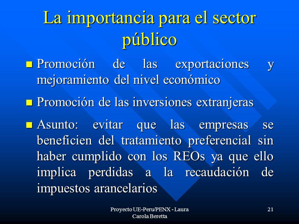Proyecto UE-Peru/PENX - Laura Carola Beretta 21 La importancia para el sector público Promoción de las exportaciones y mejoramiento del nivel económico Promoción de las exportaciones y mejoramiento del nivel económico Promoción de las inversiones extranjeras Promoción de las inversiones extranjeras Asunto: evitar que las empresas se beneficien del tratamiento preferencial sin haber cumplido con los REOs ya que ello implica perdidas a la recaudación de impuestos arancelarios Asunto: evitar que las empresas se beneficien del tratamiento preferencial sin haber cumplido con los REOs ya que ello implica perdidas a la recaudación de impuestos arancelarios