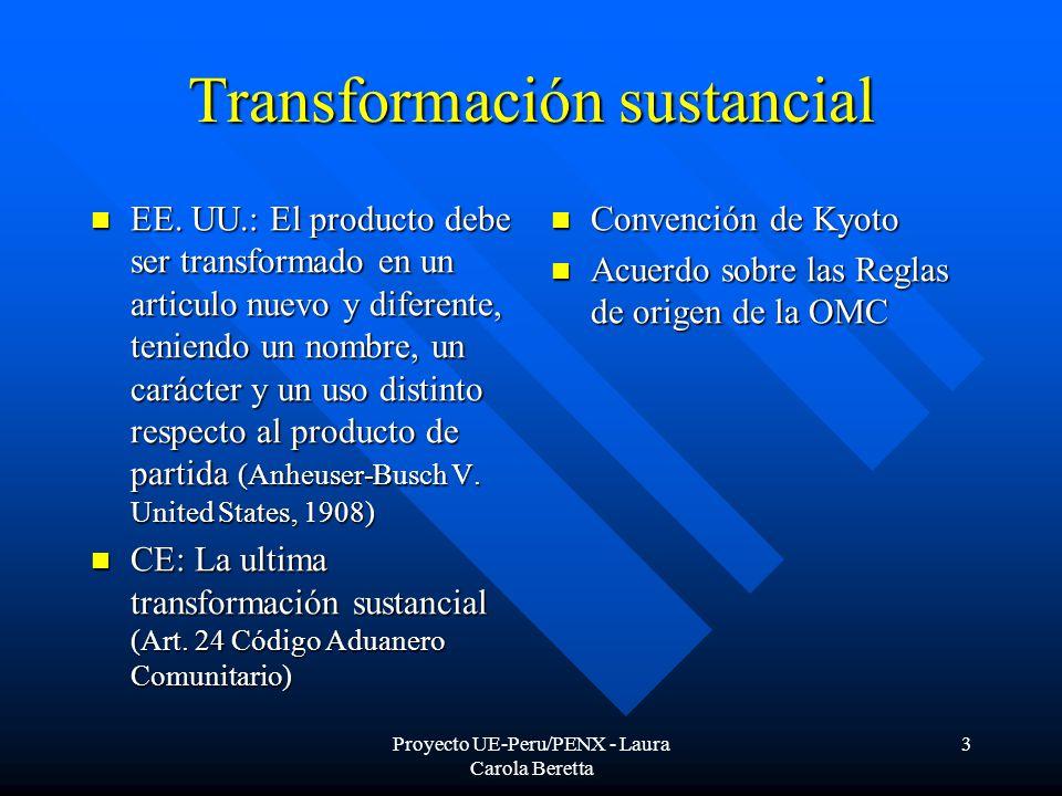Proyecto UE-Peru/PENX - Laura Carola Beretta 3 Transformación sustancial EE.