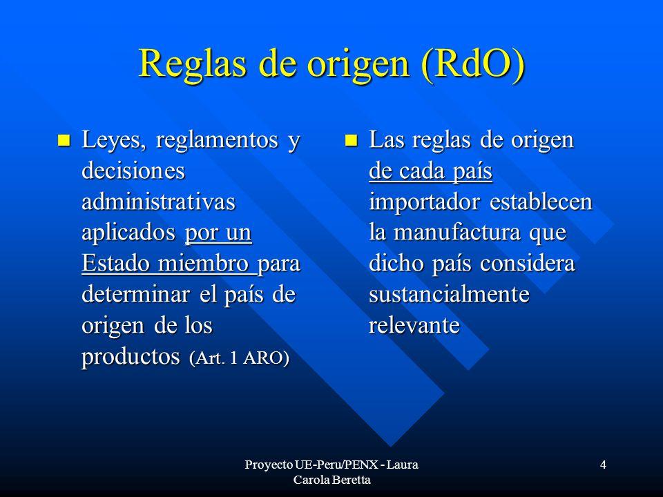 Proyecto UE-Peru/PENX - Laura Carola Beretta 4 Reglas de origen (RdO) Leyes, reglamentos y decisiones administrativas aplicados por un Estado miembro para determinar el país de origen de los productos (Art.