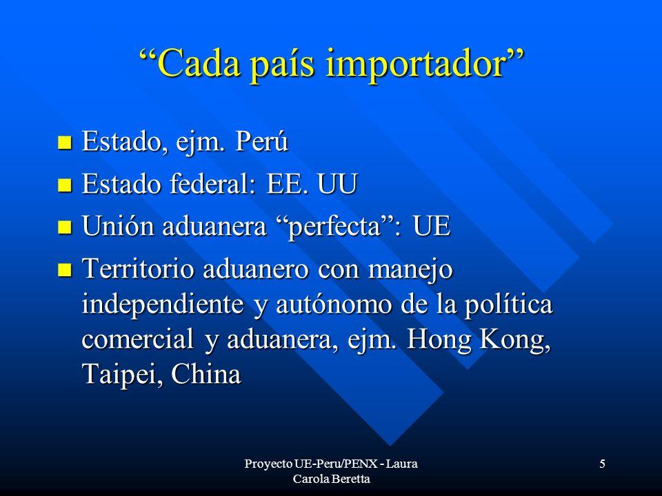 Proyecto UE-Peru/PENX - Laura Carola Beretta 5 Cada país importador Estado, ejm.