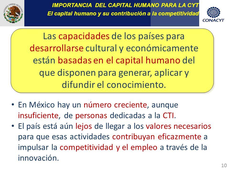 10 Las capacidades de los países para desarrollarse cultural y económicamente están basadas en el capital humano del que disponen para generar, aplicar y difundir el conocimiento.