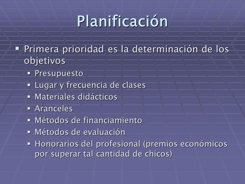 Planificación  Primera prioridad es la determinación de los objetivos  Presupuesto  Lugar y frecuencia de clases  Materiales didácticos  Aranceles  Métodos de financiamiento  Métodos de evaluación  Honorarios del profesional (premios económicos por superar tal cantidad de chicos)