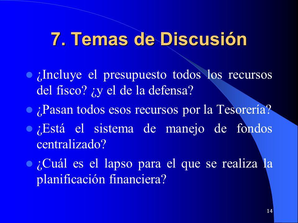 14 7. Temas de Discusión ¿Incluye el presupuesto todos los recursos del fisco.