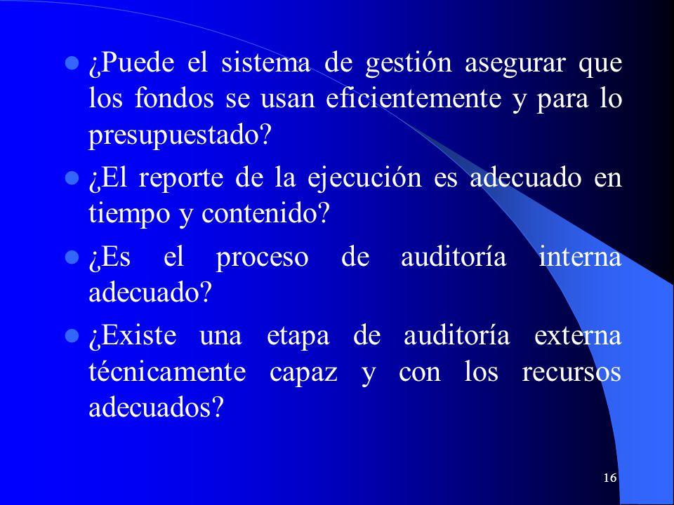 16 ¿Puede el sistema de gestión asegurar que los fondos se usan eficientemente y para lo presupuestado.