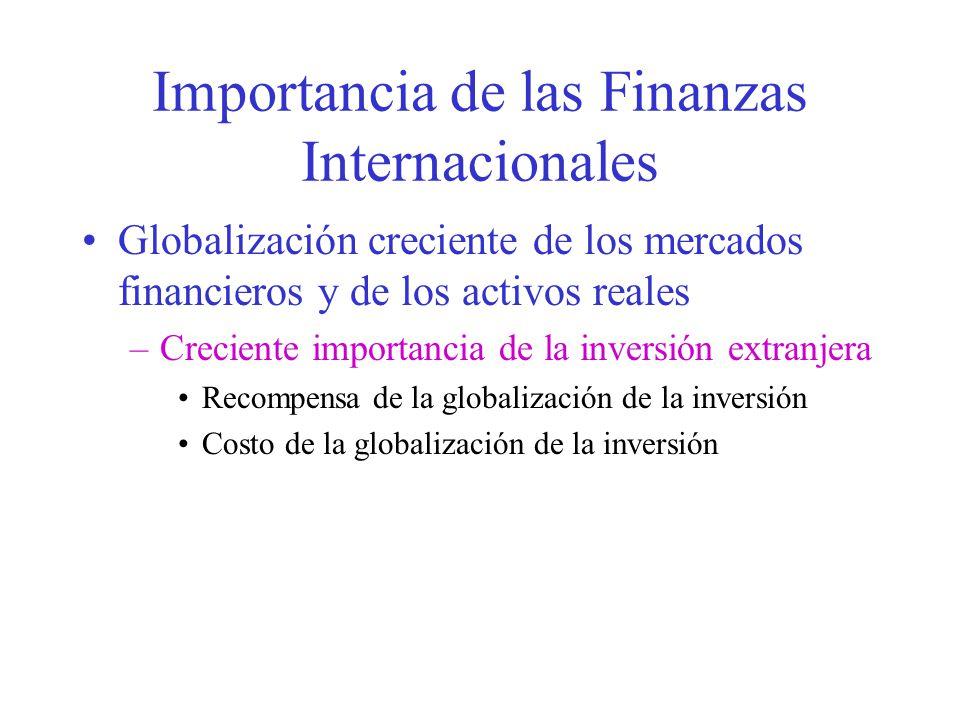 Importancia de las Finanzas Internacionales Globalización creciente de los mercados financieros y de los activos reales –Creciente importancia de la inversión extranjera Recompensa de la globalización de la inversión Costo de la globalización de la inversión