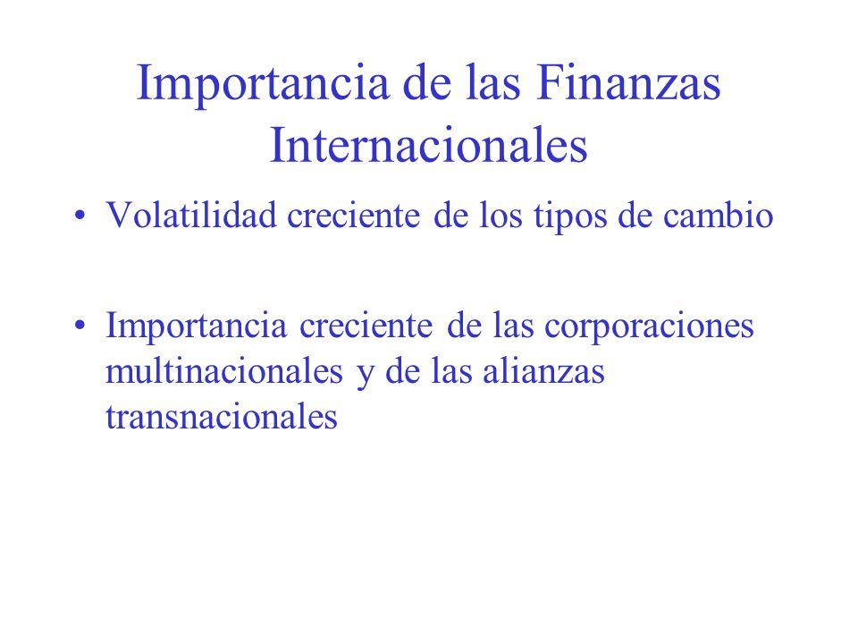 Importancia de las Finanzas Internacionales Volatilidad creciente de los tipos de cambio Importancia creciente de las corporaciones multinacionales y de las alianzas transnacionales