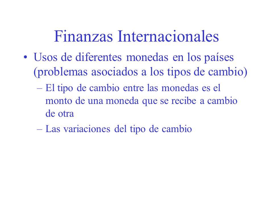 Finanzas Internacionales Usos de diferentes monedas en los países (problemas asociados a los tipos de cambio) –El tipo de cambio entre las monedas es el monto de una moneda que se recibe a cambio de otra –Las variaciones del tipo de cambio