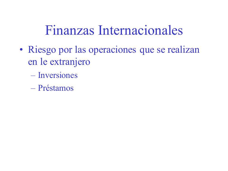 Finanzas Internacionales Riesgo por las operaciones que se realizan en le extranjero –Inversiones –Préstamos