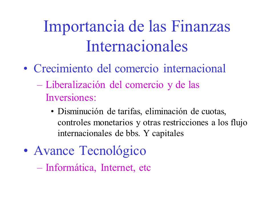 Importancia de las Finanzas Internacionales Crecimiento del comercio internacional –Liberalización del comercio y de las Inversiones: Disminución de tarifas, eliminación de cuotas, controles monetarios y otras restricciones a los flujo internacionales de bbs.
