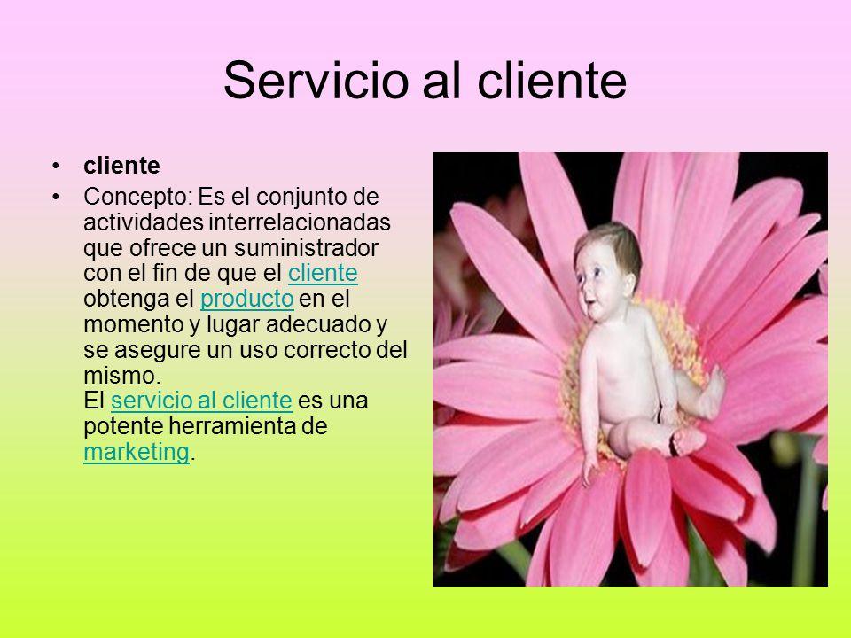 Servicio al cliente cliente Concepto: Es el conjunto de actividades interrelacionadas que ofrece un suministrador con el fin de que el cliente obtenga el producto en el momento y lugar adecuado y se asegure un uso correcto del mismo.