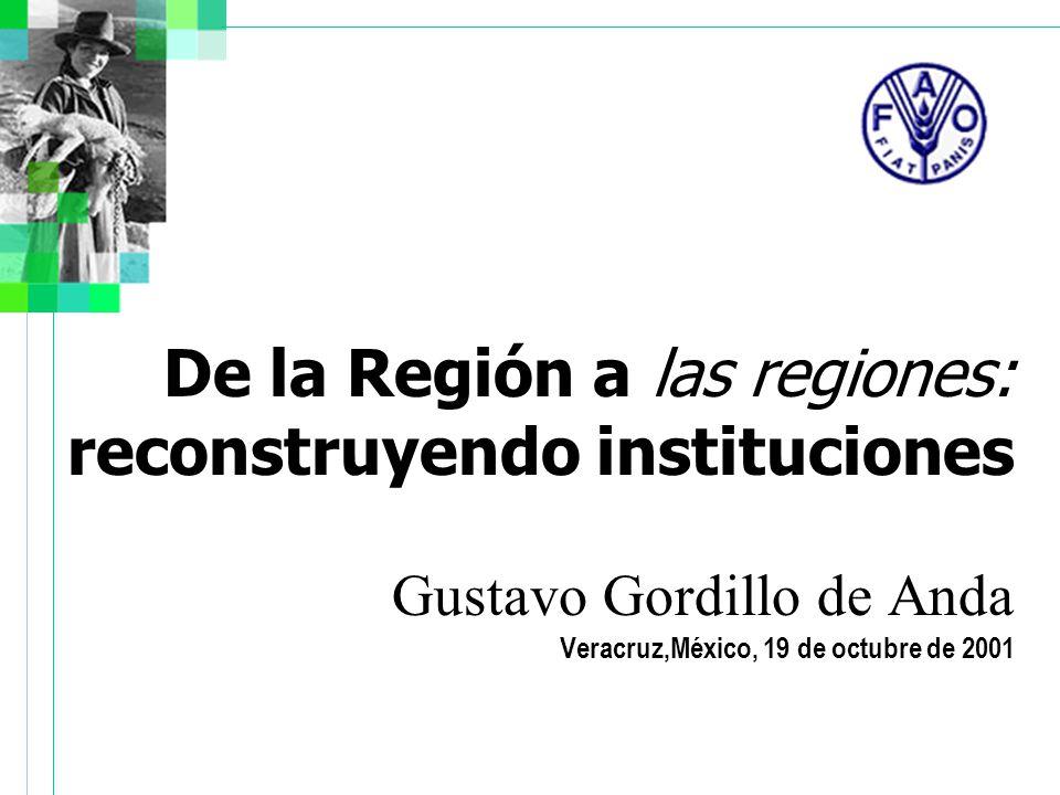 De la Región a las regiones: reconstruyendo instituciones Gustavo Gordillo de Anda Veracruz,México, 19 de octubre de 2001