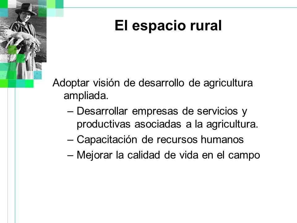 El espacio rural Adoptar visión de desarrollo de agricultura ampliada.