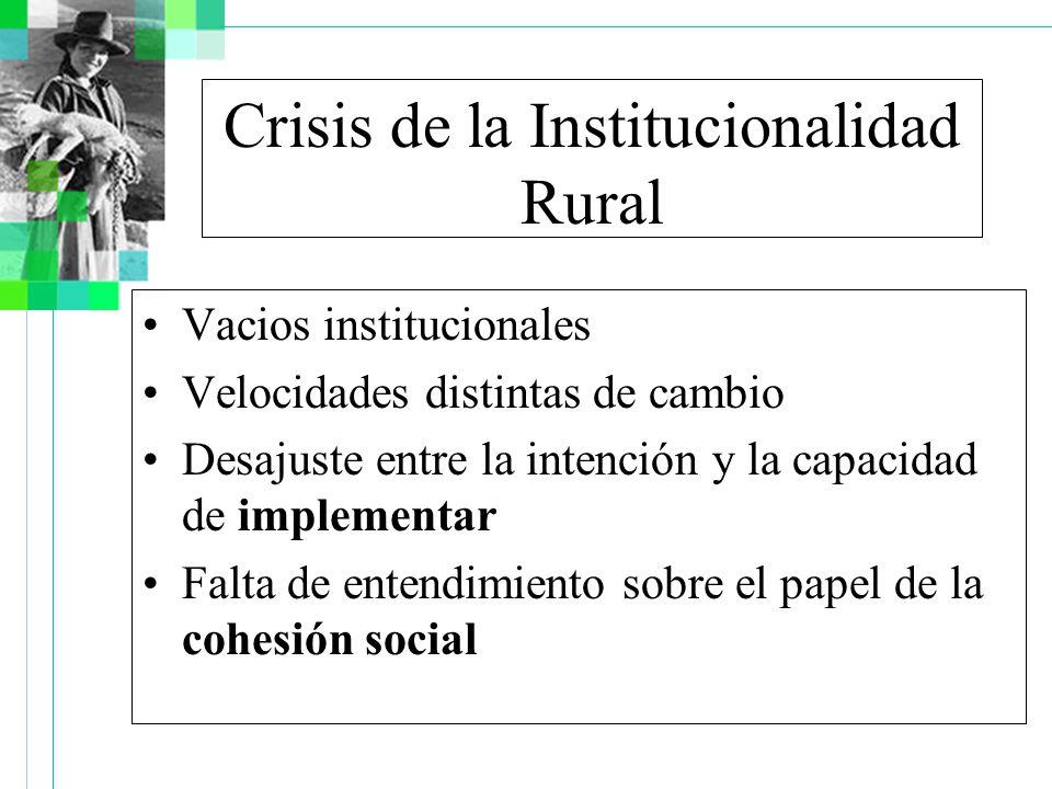 Crisis de la Institucionalidad Rural Vacios institucionales Velocidades distintas de cambio Desajuste entre la intención y la capacidad de implementar Falta de entendimiento sobre el papel de la cohesión social