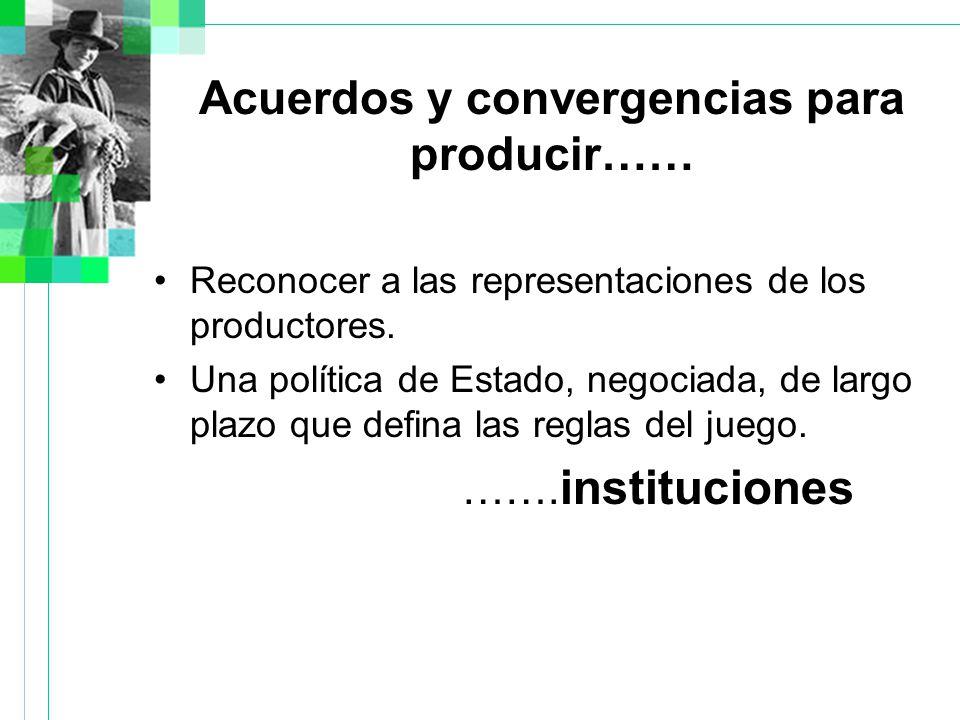 Acuerdos y convergencias para producir…… Reconocer a las representaciones de los productores.