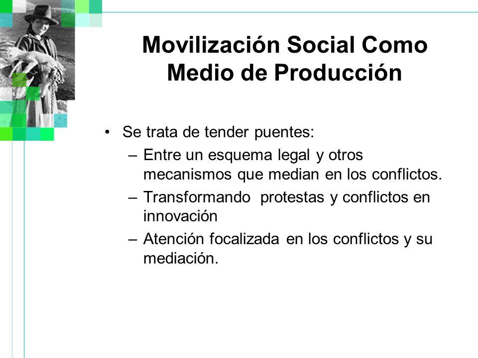 Movilización Social Como Medio de Producción Se trata de tender puentes: –Entre un esquema legal y otros mecanismos que median en los conflictos.
