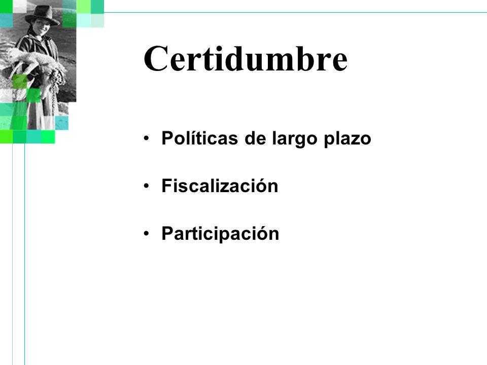 Certidumbre Políticas de largo plazo Fiscalización Participación