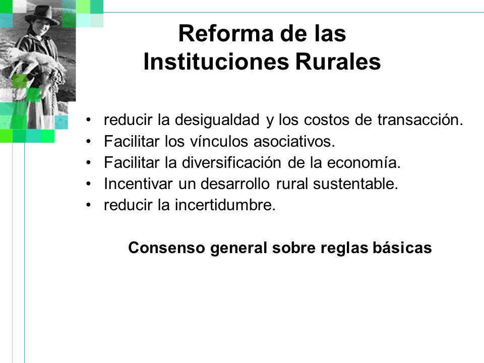 Reforma de las Instituciones Rurales reducir la desigualdad y los costos de transacción.