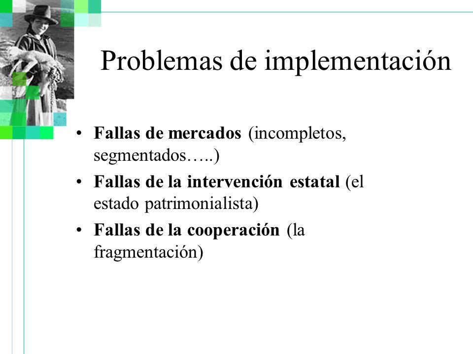 Fallas de mercados (incompletos, segmentados…..) Fallas de la intervención estatal (el estado patrimonialista) Fallas de la cooperación (la fragmentación) Problemas de implementación