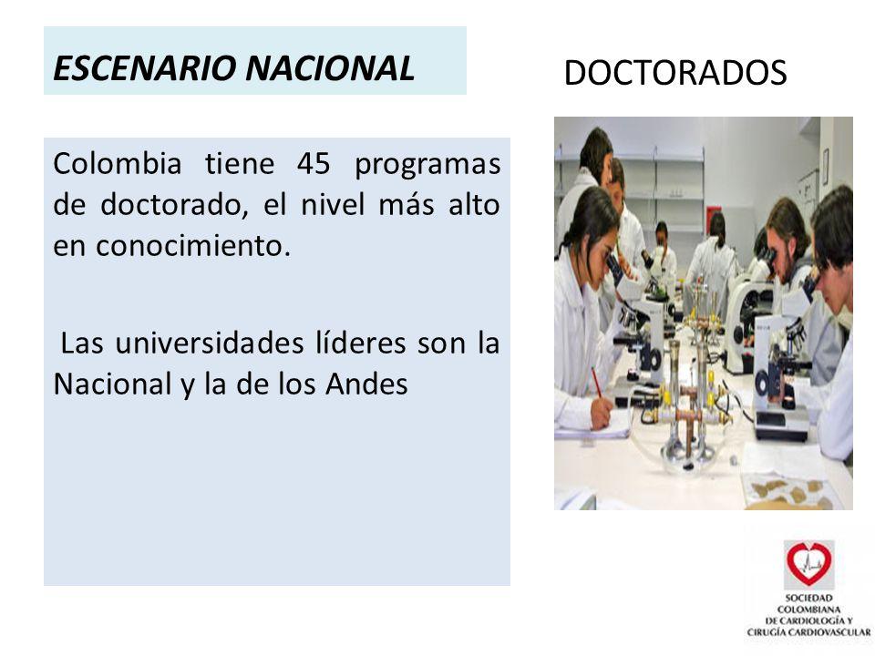 ESCENARIO NACIONAL DOCTORADOS Colombia tiene 45 programas de doctorado, el nivel más alto en conocimiento.