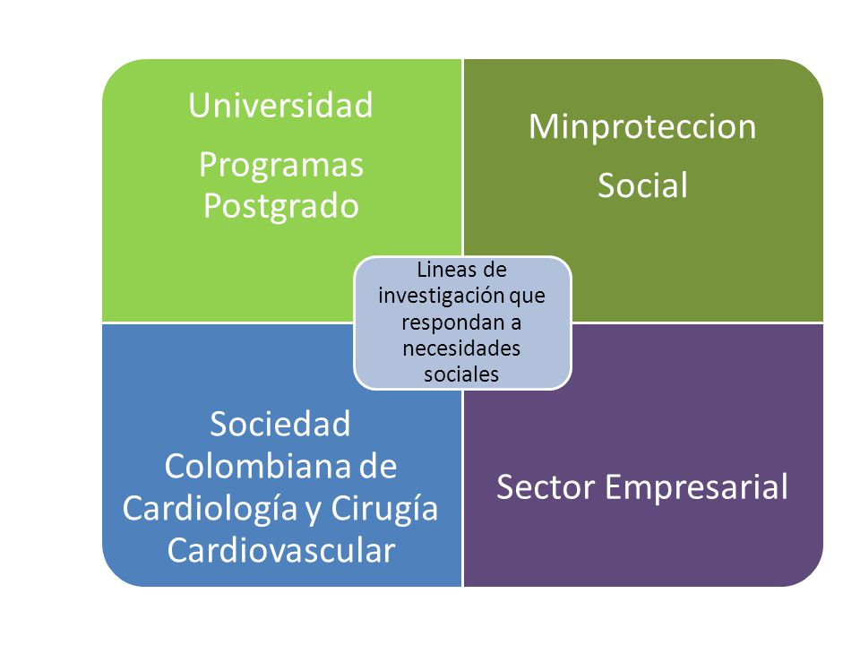 Universidad Programas Postgrado Minproteccion Social Sociedad Colombiana de Cardiología y Cirugía Cardiovascular Sector Empresarial Lineas de investigación que respondan a necesidades sociales