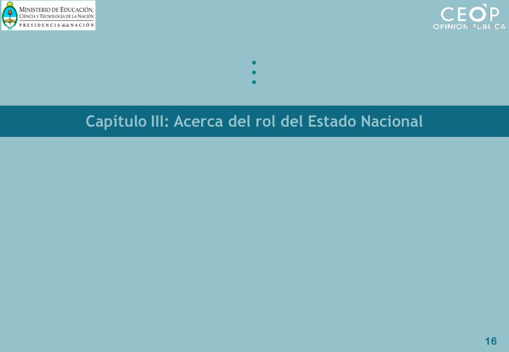 16 Capítulo III: Acerca del rol del Estado Nacional